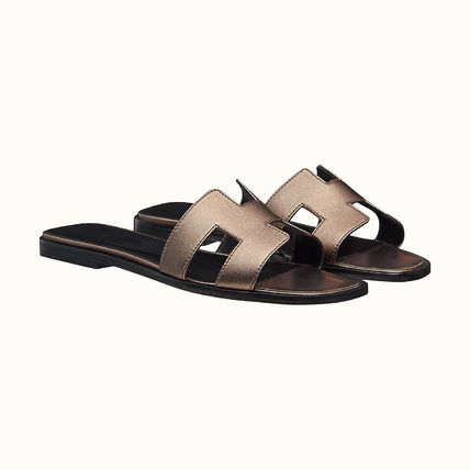 HERMES More Sandals Leather Metallic Sandals Sandal 17