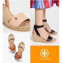 Tory Burch Open Toe Plain Leather Platform & Wedge Sandals