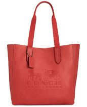 Coach Street Style A4 Plain Leather Totes
