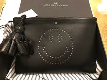 Anya Hindmarch Casual Style Street Style Leather Party Style Logo Clutches