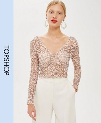 Casual Style Long Sleeves Lace Tops