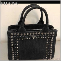 PRADA Casual Style Studded Plain With Jewels Totes