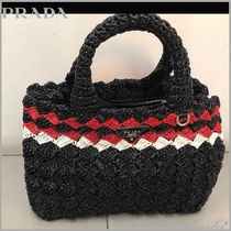 PRADA Stripes Straw Bags