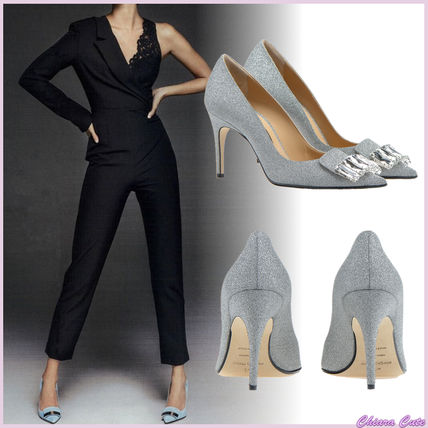 Plain Leather Pin Heels Party Style With Jewels