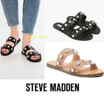 Steve Madden Open Toe Casual Style Street Style Plain Leather Sandals