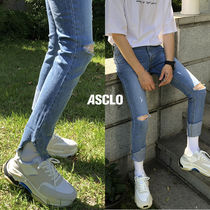 ASCLO Denim Street Style Plain Skinny Fit Jeans & Denim