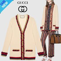 GUCCI Cable Knit Wool Long Sleeves Plain Medium Oversized Knitwear