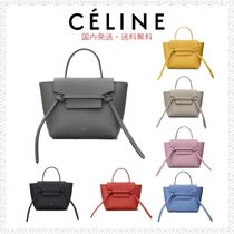 CELINE Belt Calfskin 2WAY Plain Elegant Style Shoulder Bags