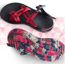 Chaco Camouflage Open Toe Casual Style Blended Fabrics