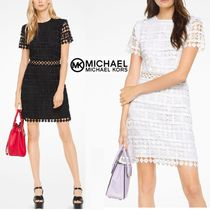 Michael Kors Flower Patterns Flared Plain Short Sleeves Lace