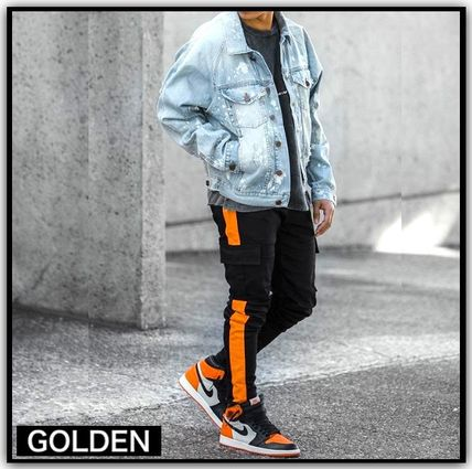 Tapered Pants Stripes Street Style Tapered Pants