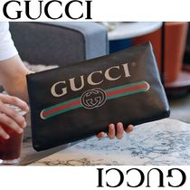 GUCCI Unisex Bag in Bag Leather Clutches