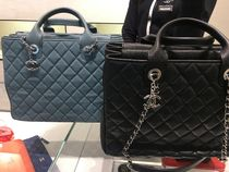 CHANEL A4 2WAY Chain Plain Leather Office Style Totes