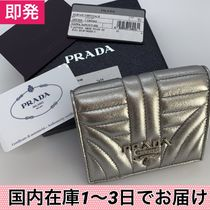 PRADA DIAGRAMME Plain PVC Clothing Folding Wallets