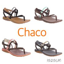 Chaco Open Toe Casual Style Unisex Street Style Plain Leather