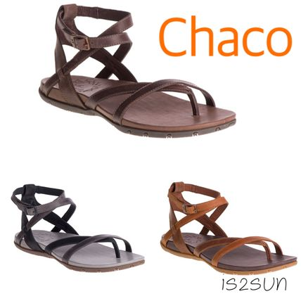 Open Toe Casual Style Street Style Plain Leather Sandals