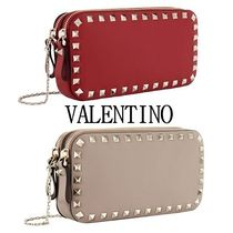 VALENTINO Studded Chain Plain Leather Party Style Party Bags