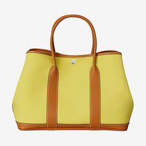 HERMES Garden Party Unisex Calfskin Street Style A4 Plain Oversized Totes
