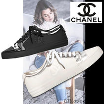 CHANEL Casual Style Blended Fabrics Street Style Plain PVC Clothing