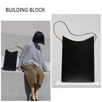Building Block Casual Style Plain Leather Totes