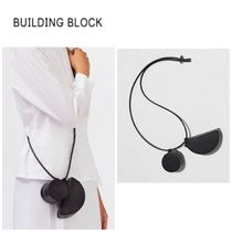 Building Block Casual Style 2WAY Plain Leather Bags