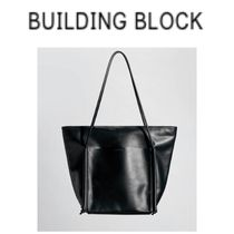 Building Block Casual Style 2WAY Plain Leather Totes