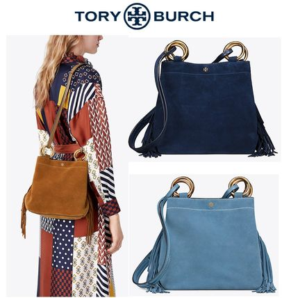 2c2ba80b5a86 Tory Burch 2018-19AW Casual Style Suede Plain Fringes Totes by ...