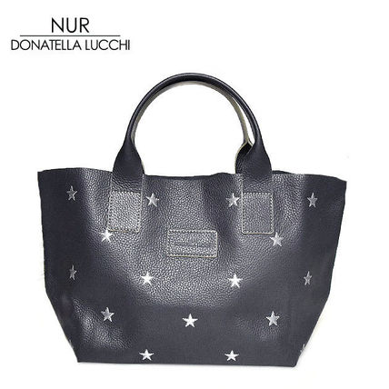 Star Casual Style A4 Leather Totes