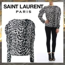 Saint Laurent Leopard Patterns Silk Long Sleeves Elegant Style