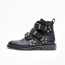 ZADIG & VOLTAIRE Round Toe Casual Style Plain Leather Ankle & Booties Boots