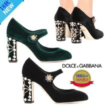 Dolce & Gabbana Plain Toe Velvet Plain With Jewels Elegant Style