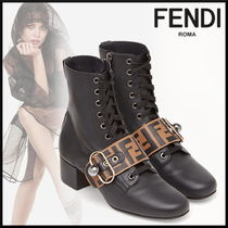 FENDI Monogram Square Toe Blended Fabrics Leather With Jewels