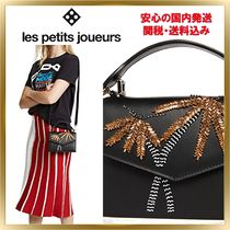 Les Petits Joueurs Tropical Patterns 2WAY Leather With Jewels Elegant Style
