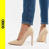 ASOS Casual Style Faux Fur Pin Heels Pointed Toe Pumps & Mules