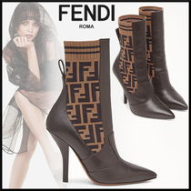 FENDI Monogram Blended Fabrics Leather Pin Heels Elegant Style