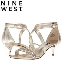 Nine West Open Toe Plain Leather Pin Heels Party Style Shoes