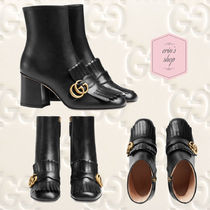GUCCI GG Marmont Blended Fabrics Plain Leather Block Heels With Jewels