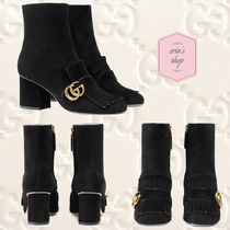 GUCCI GG Marmont Suede Blended Fabrics Plain Block Heels With Jewels
