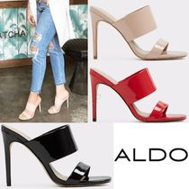 ALDO Open Toe Faux Fur Plain Pin Heels Elegant Style