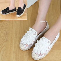 Flower Patterns Plain Toe Casual Style Slip-On Shoes