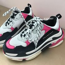 BALENCIAGA Triple S Round Toe Casual Style Unisex Street Style Low-Top Sneakers