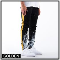 GOLDEN DENIM Tapered Pants Stripes Street Style Cotton Tapered Pants