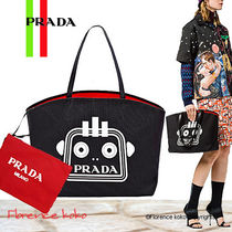PRADA CANAPA Casual Style Unisex Canvas Blended Fabrics A4 Bi-color Totes