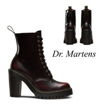Dr Martens Lace-up Casual Style Plain Leather Block Heels Lace-up Boots