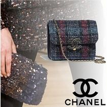 CHANEL Other Check Patterns Lambskin 2WAY Chain Elegant Style
