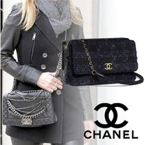 CHANEL Other Check Patterns 2WAY Chain Plain Elegant Style