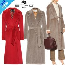 ETRO Wool Plain Long Elegant Style Wrap Coats