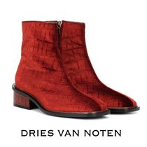 Dries Van Noten Square Toe Velvet Other Animal Patterns Elegant Style