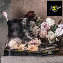 Dr Martens Flower Patterns Lace-up Casual Style Unisex Collaboration