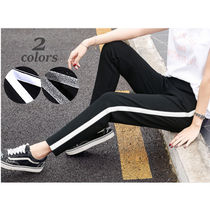 Stripes Casual Style Unisex Sweat Street Style Bi-color Long